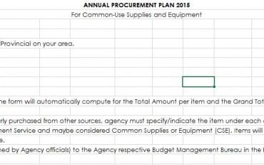 Annual Procurement Plan CY 2015