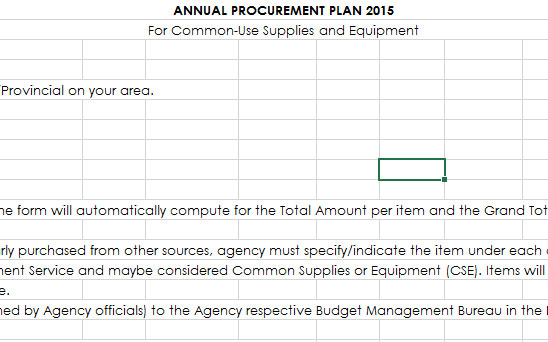 Annual Procurement Plan CY 2015