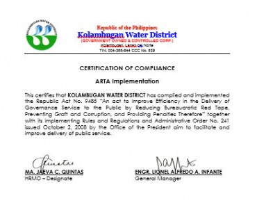 Certificate of Compliance CY 2015