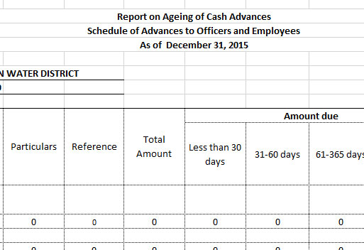Report On The Aging Of Cash Advances CY 2015