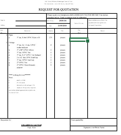 Request for Quotation 2018-116