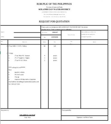 Request for Quotation 2018-117