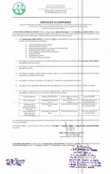 Certificate of Compliance – ARTA CY 2018