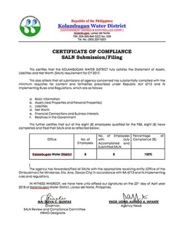 Certificate of Compliance CY 2017