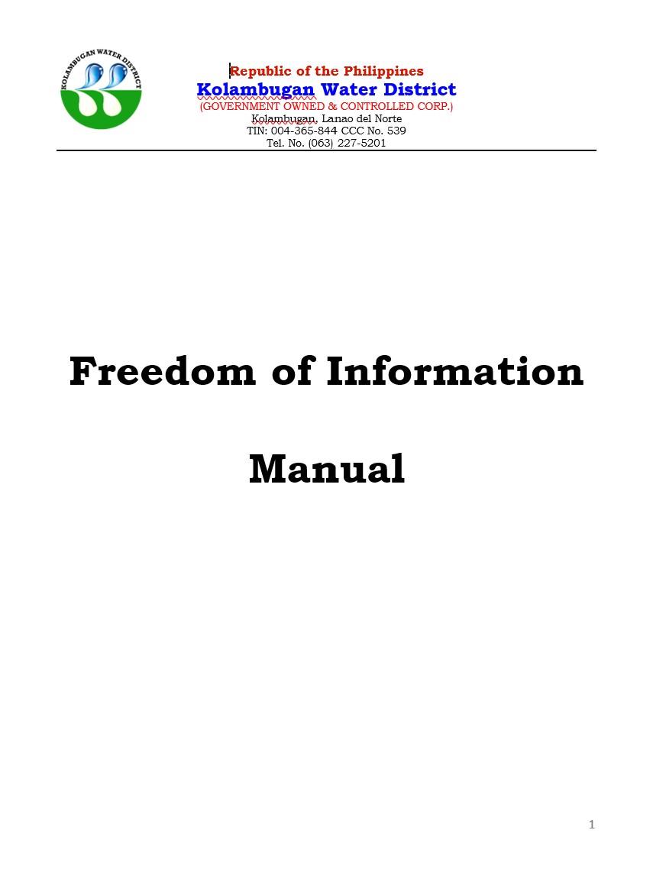 Kolambugan Water District Freedom of Information (FOI) Manual