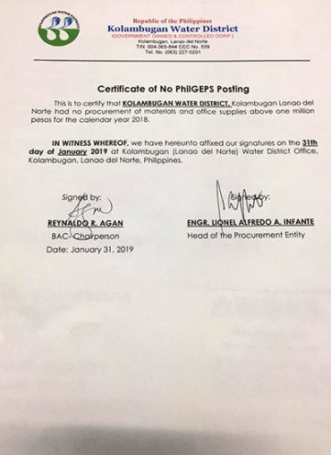 Certificate of No PhilGEPS Posting CY 2019