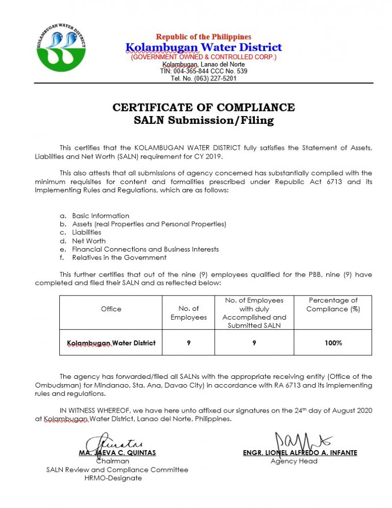 Certificate of Compliance – SALN CY 2019