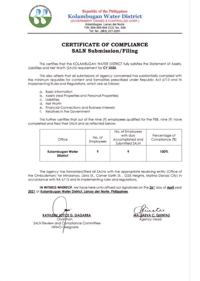Certificate of Compliance – SALN CY 2020