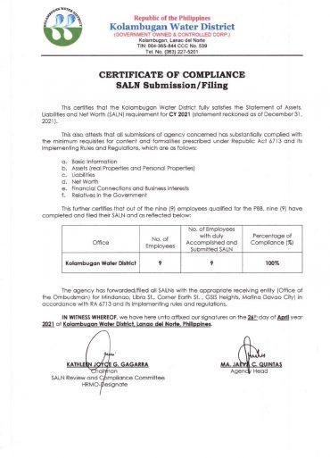 Certificate of Compliance – SALN CY 2021